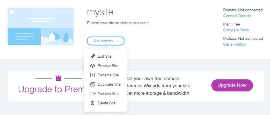 Manajemen situs Wix