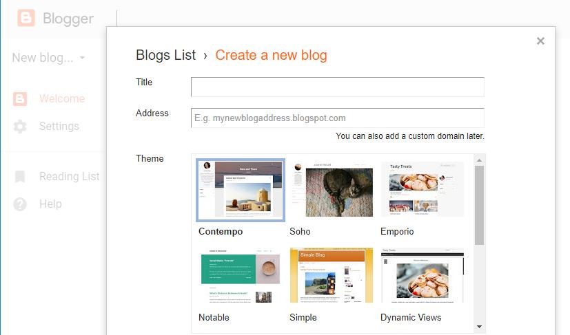 Tema dan Judul Blog