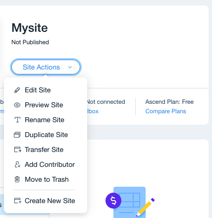 Wix Site Actions