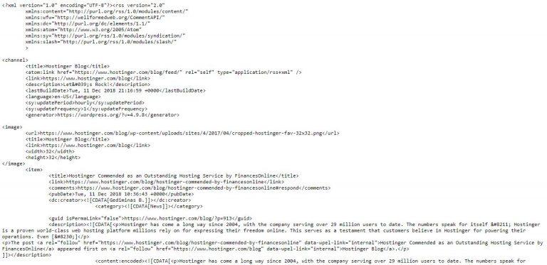 Contoh RSS Feed WordPress di blog Hostinger