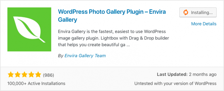Install plugin WordPress gallery