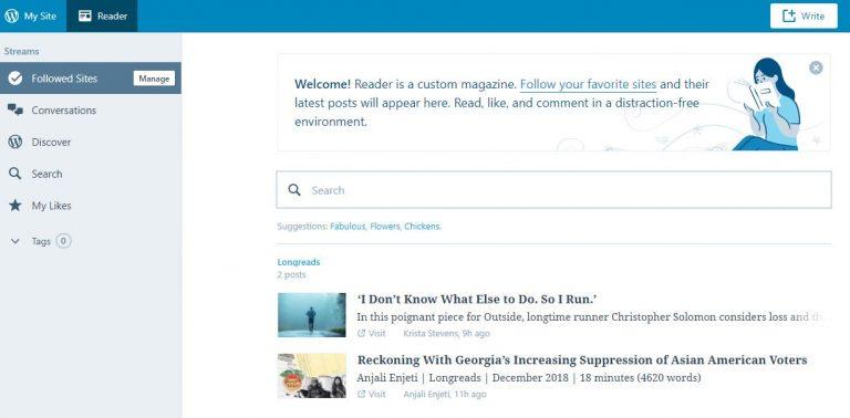 Topik dan blog di dalam WordPress RSS Reader