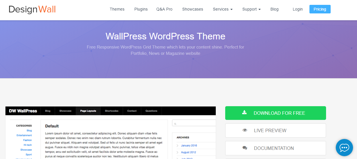 Template portofolio WordPress gratis: Wallpress