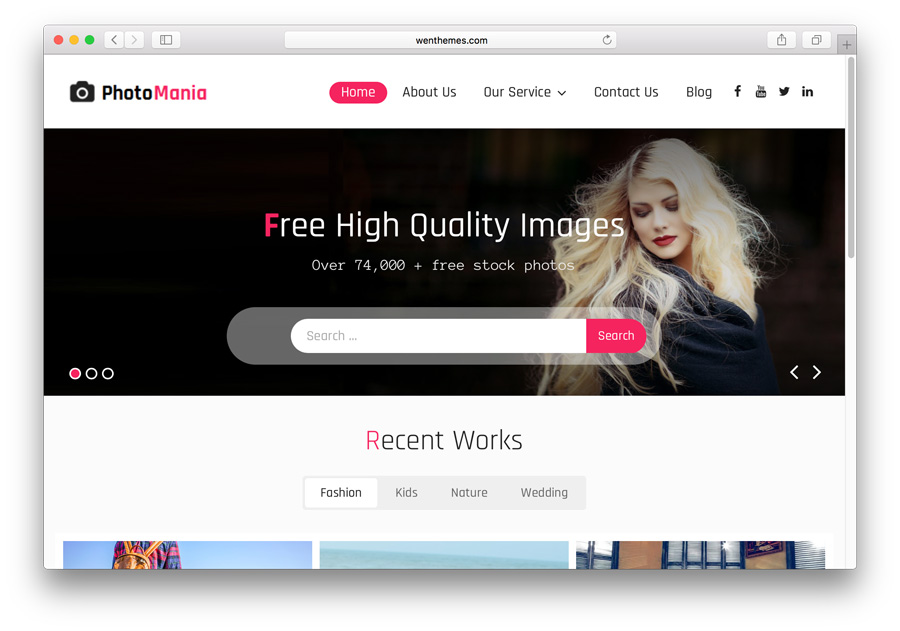 Template website untuk portofolio: Photomania