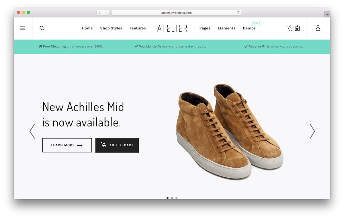 theme WooCommerce bernama Atelier