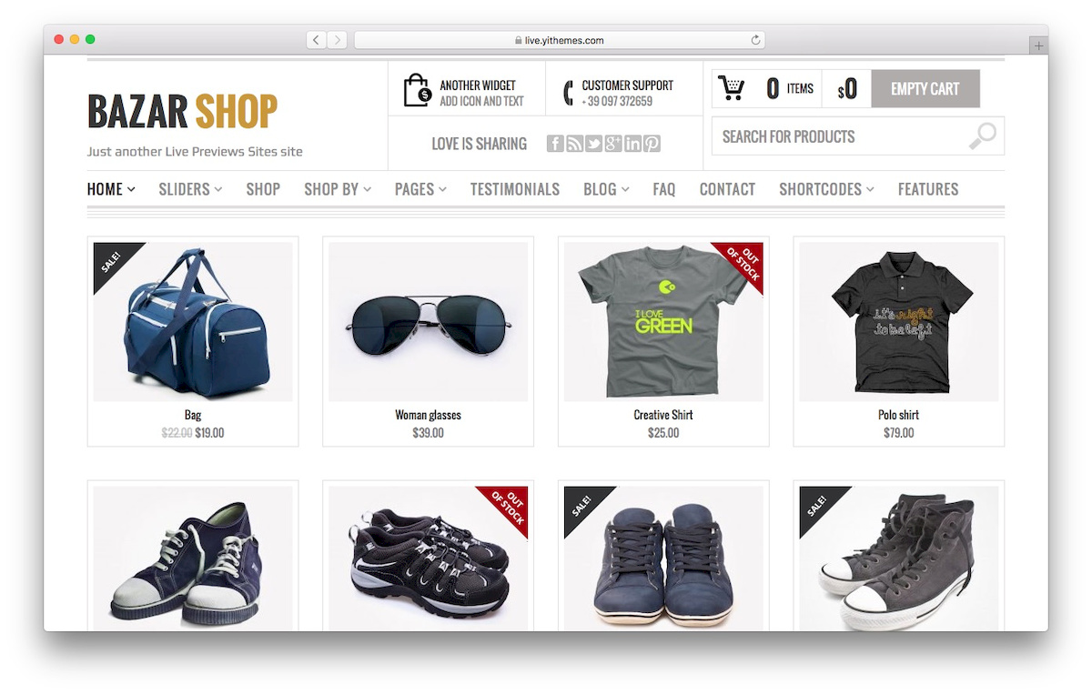 theme woocommerce bernama bazar shop