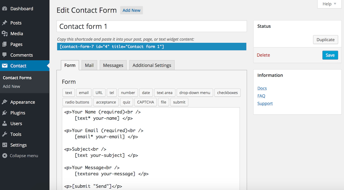 Settings Page  pada Contact Form 7
