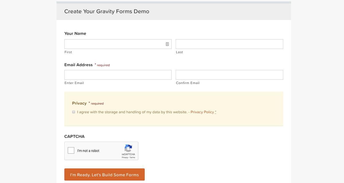 Contoh contact form yang dibuat dengan plugin Gravity Forms