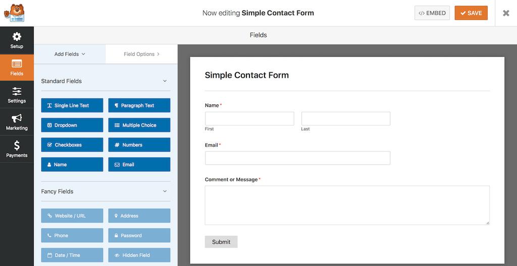 Contoh formulir kontak WPForms