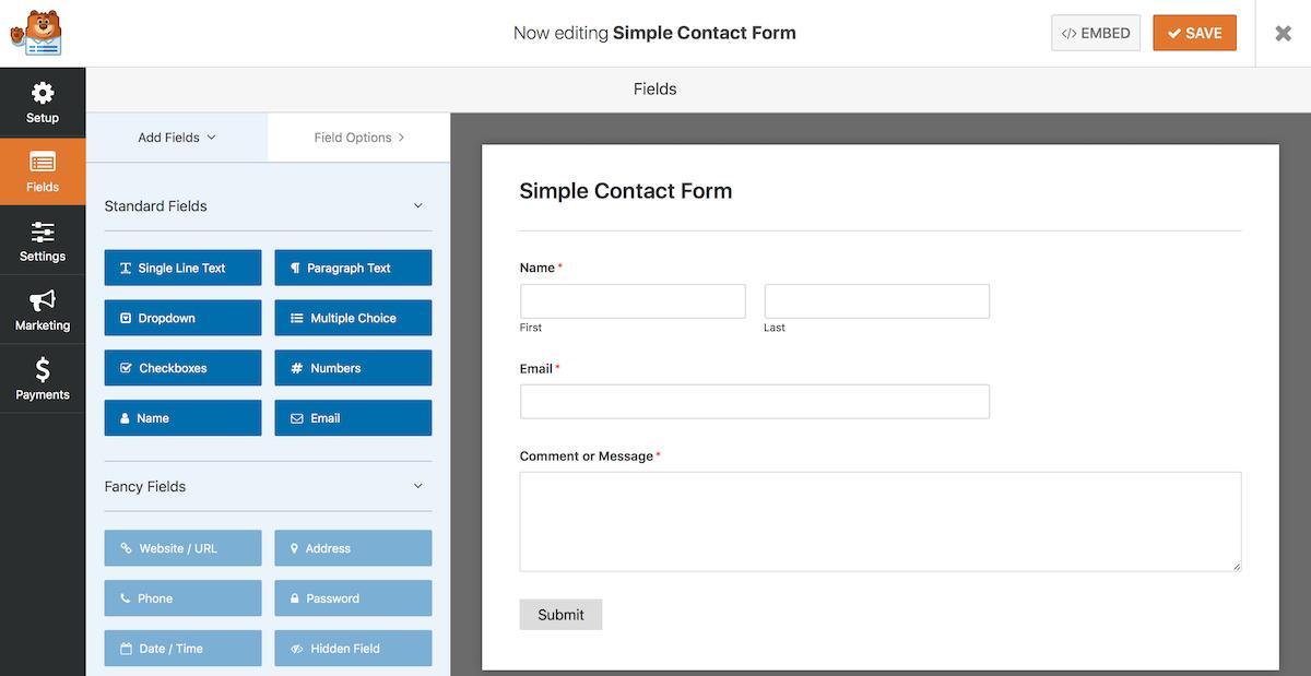 contoh tampilan plugin wp form