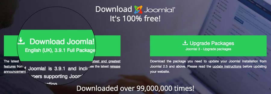 Cara menginstall Joomla: download Joomla