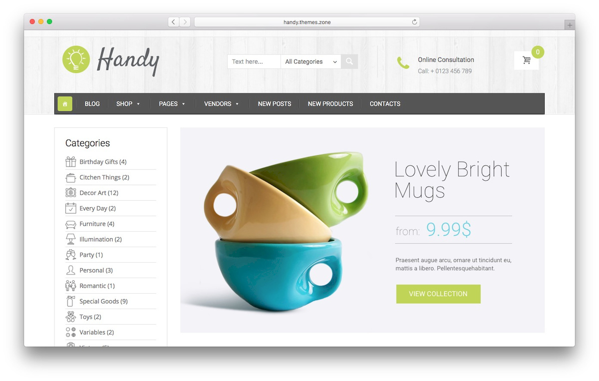 WooCommerce theme bernama Handy