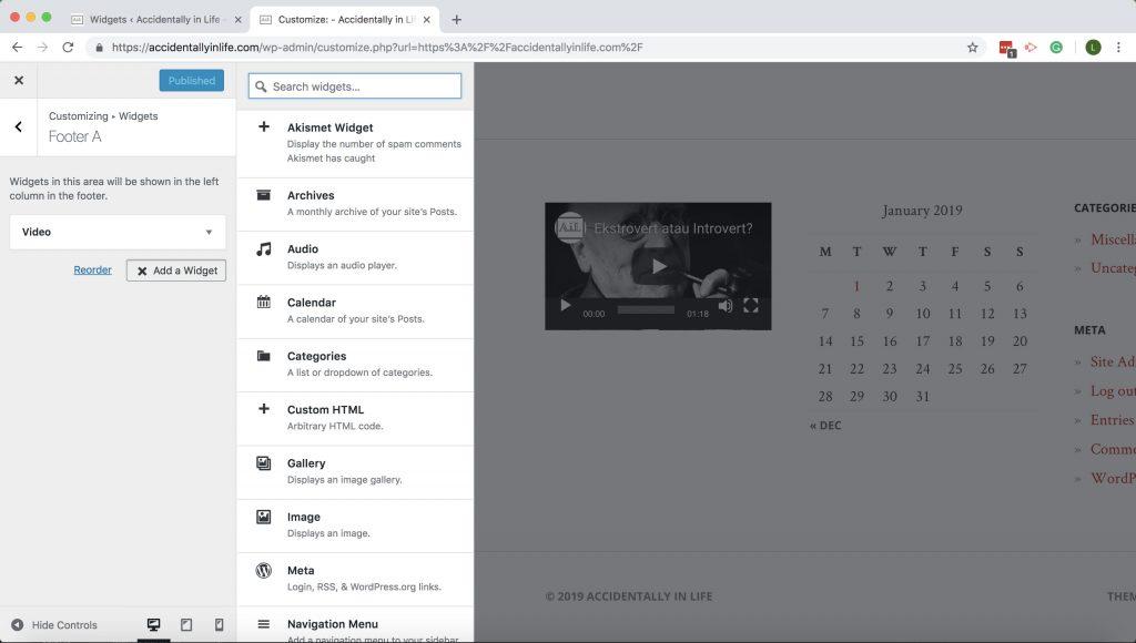 tampilan kustomisasi menu untuk widget