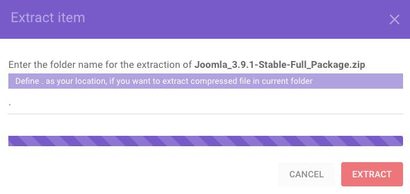 Mengesktrak arsip Joomla ke public_html