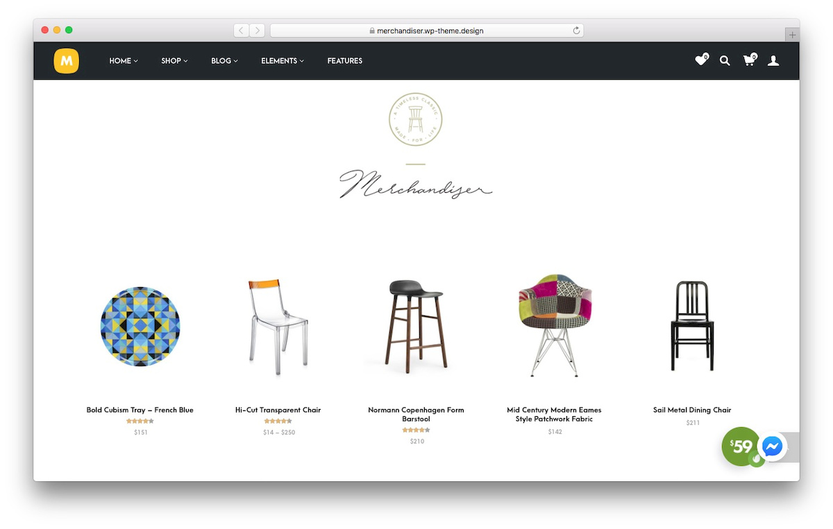 tampilan theme WooCommere bernama Merchandiser
