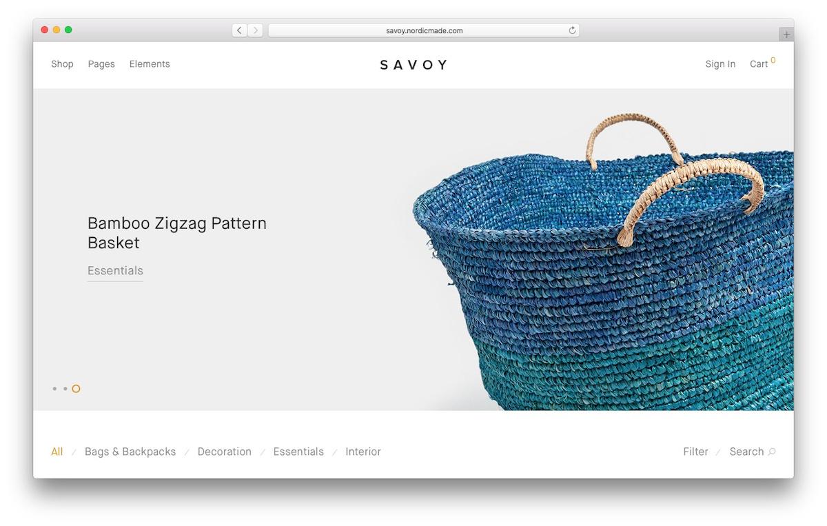 theme WooCommerce bernama savory