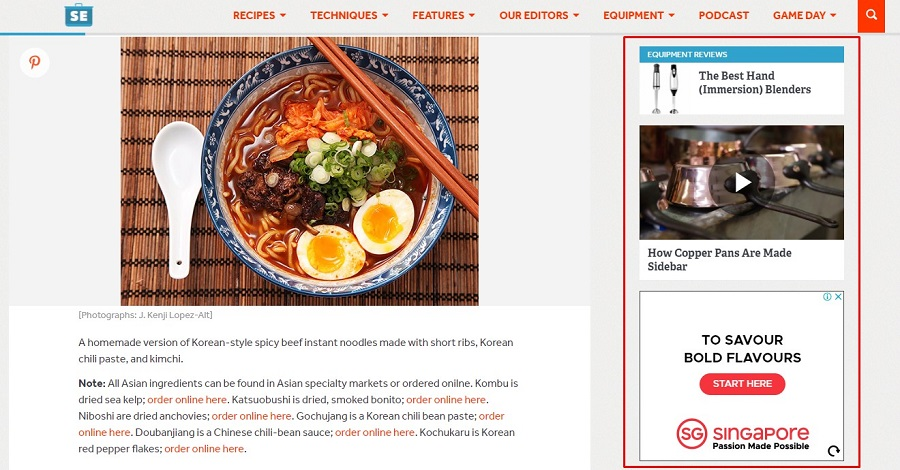Sidebar SeriousEats