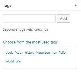 tag pada visual editor di taksonomi wordpress