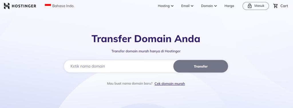 Transfer nama domain ke Hostinger