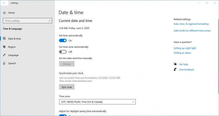 Pengaturan waktu dan tanggal untuk mengatasi your connection is not private