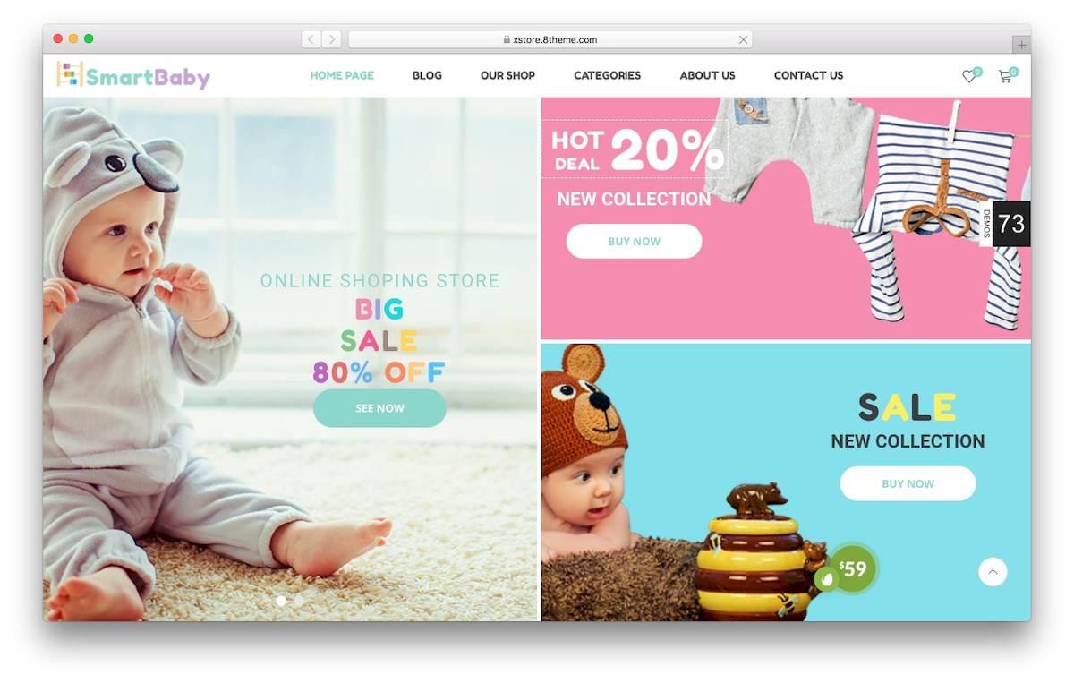 theme WooCommerce cocok untuk toko keperluan ibu dan bayi bernama xstore