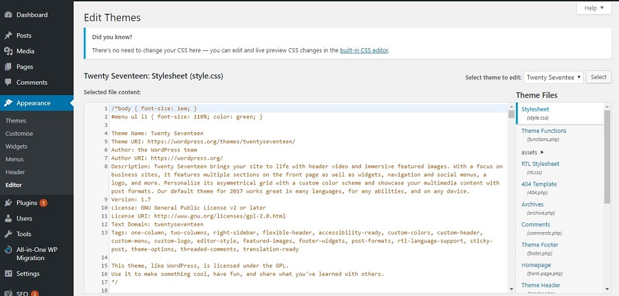 tampilan dari theme editor wordpress