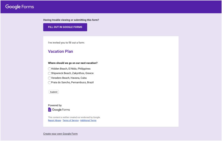 tampilan google form pada badan email
