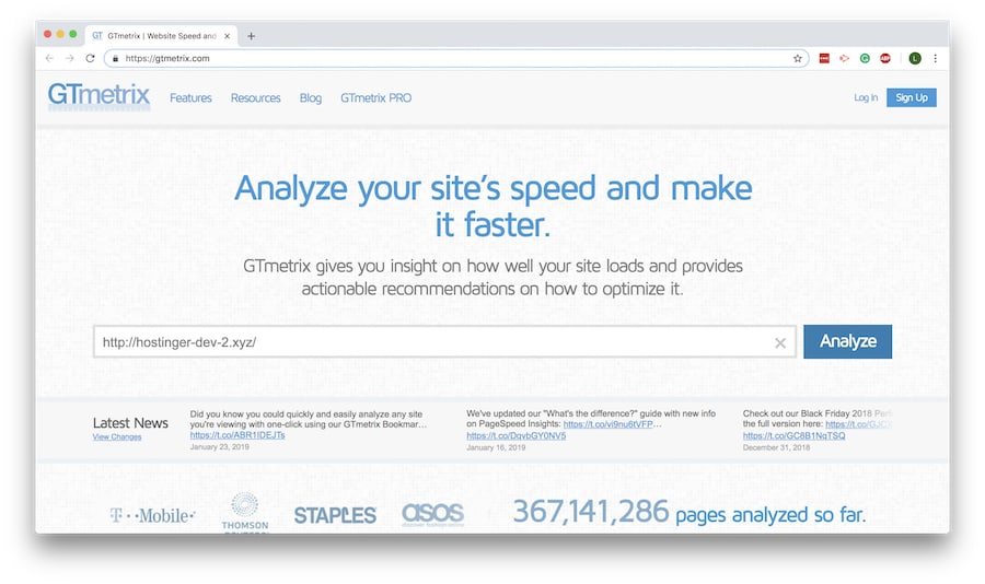 tampilan homepage gmetrix