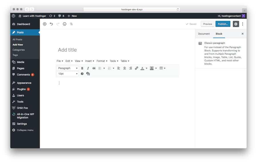 tampilan classic editor wordpress