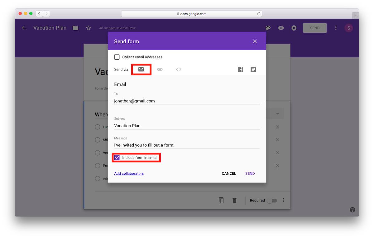 menyematkan google form ke email