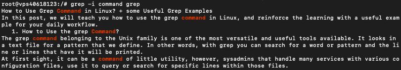 output dari grep command linux