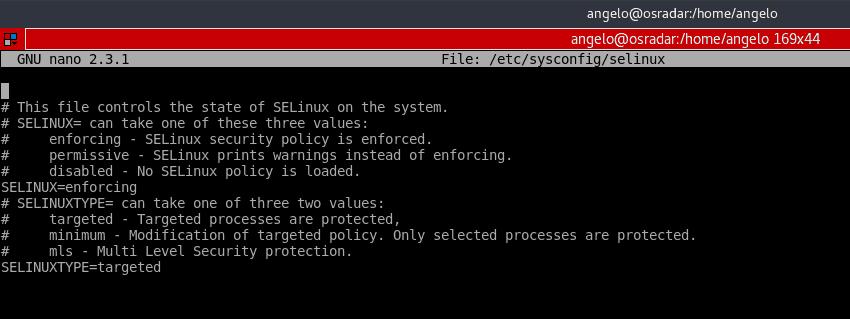 tampilan file konfigurasi selinux