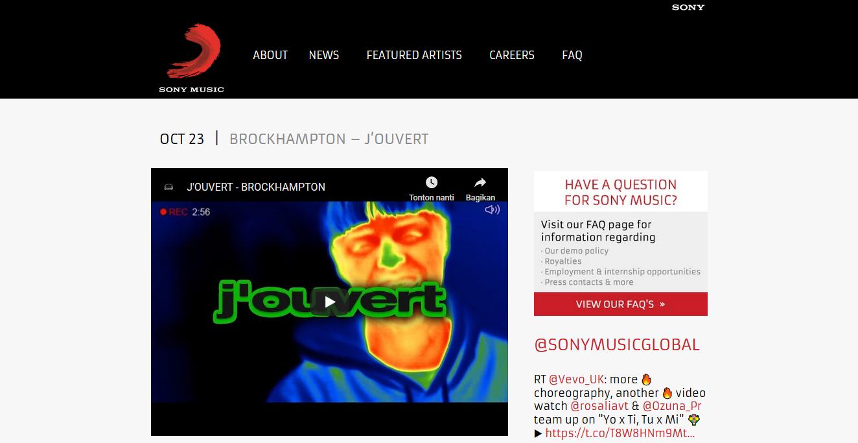 youtube pada halaman sony