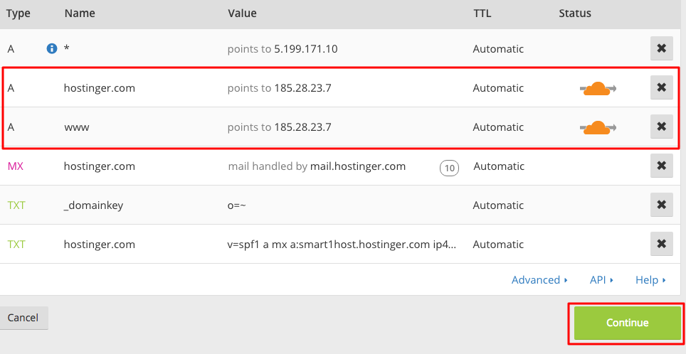 Jendela pengaturan DNS CloudFlare