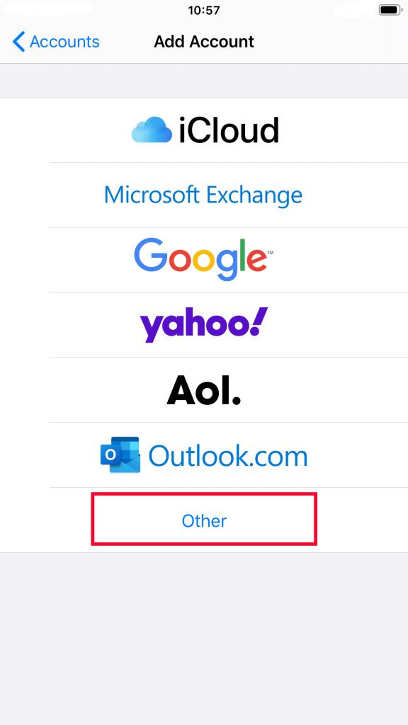 Cara buat email di iPhone - pilih Other