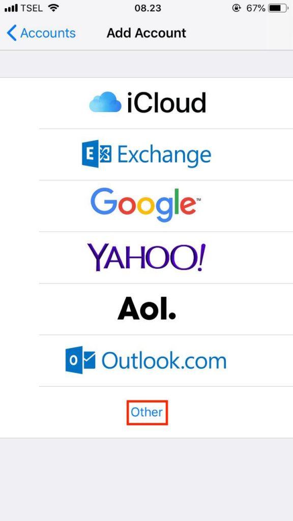 Pilih opsi other di menu untuk menambahkan akun iphone email