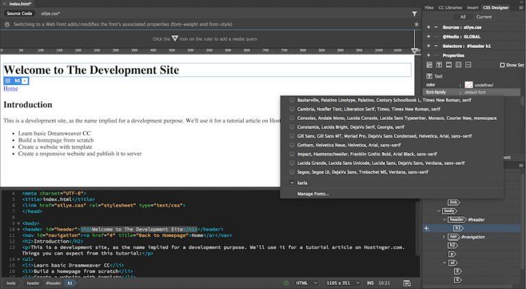 opsi font dreamweaver builder