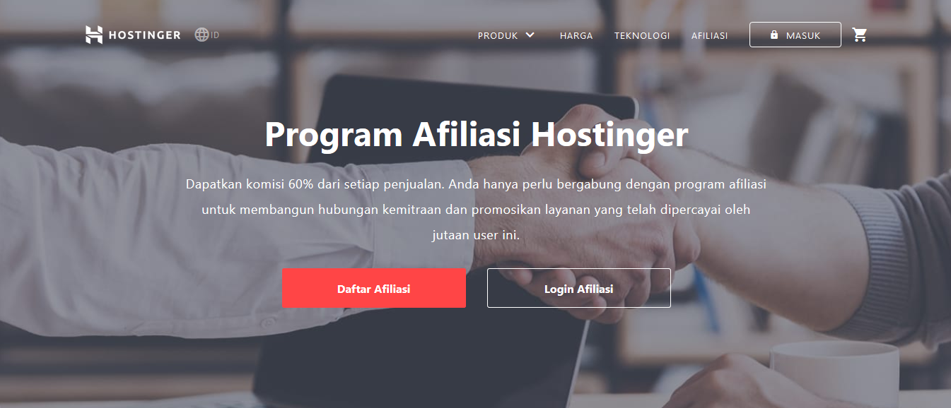 Pengertian affiliate marketing, afiliasi Hostinger