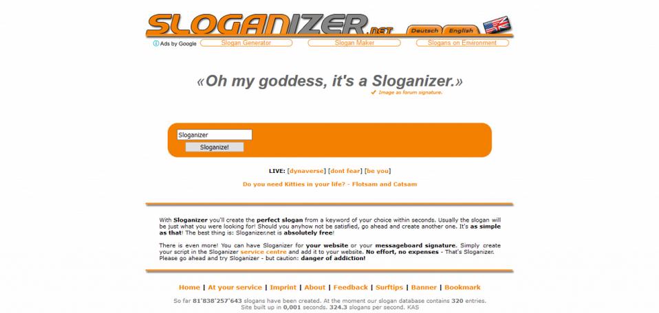 membuat slogan website online dengan sloganizer