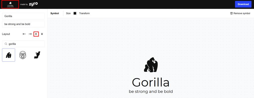 meletakkan logo di atas nama bisnis dan tagline dengan menu layout