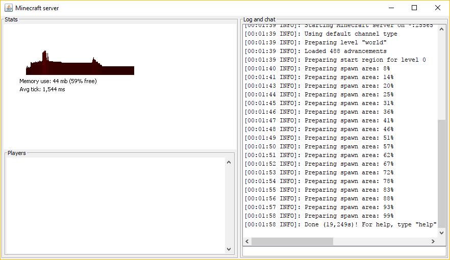 Minecraft server berhasil dipasang di Windows