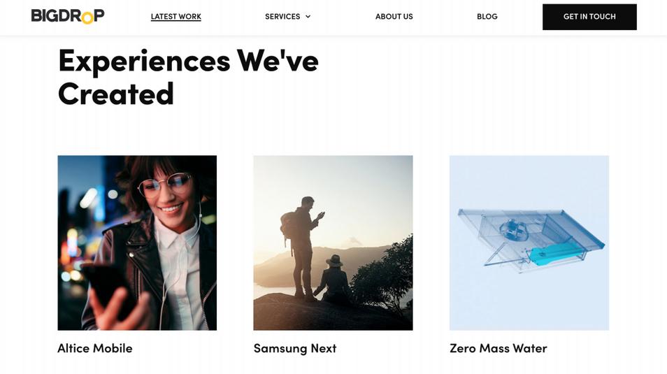 contoh galeri desain web bigdrop