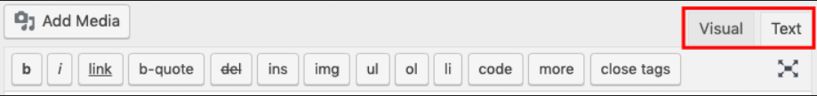 tombol editor html pada wordpress