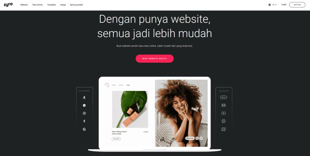 tampilan contoh desain web milik zyro