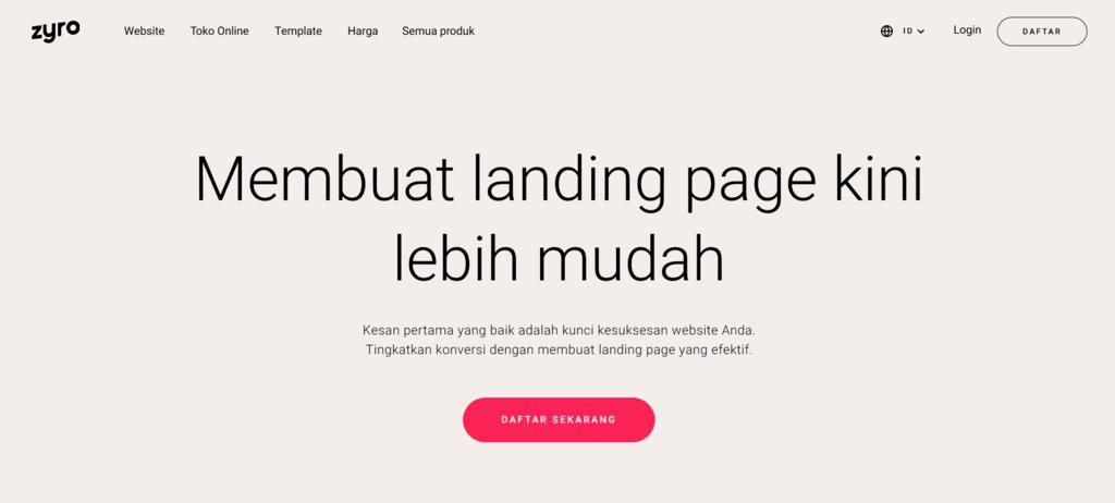 cara membuat landing page di zyro