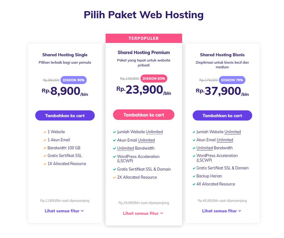 paket shared hosting hostinger