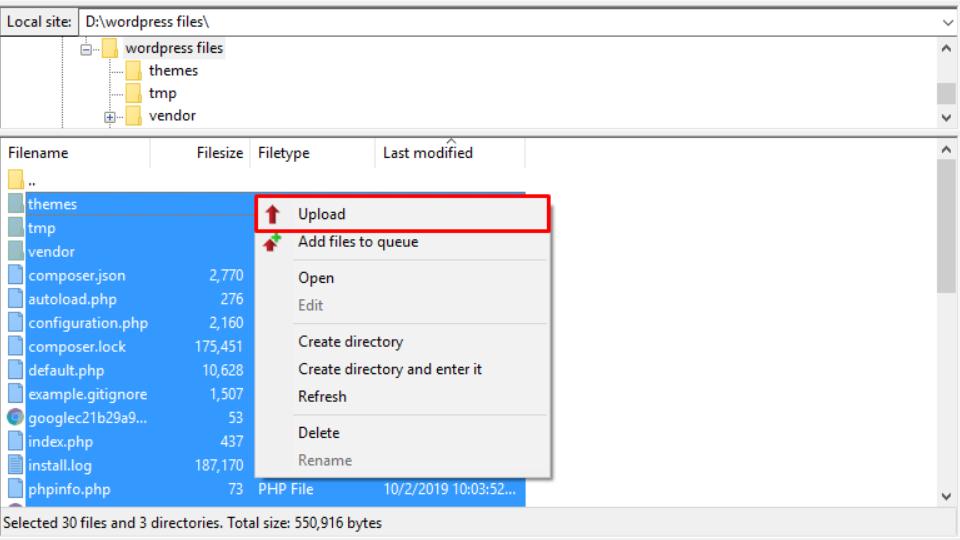 mengupload file unutk migrasi wordpress