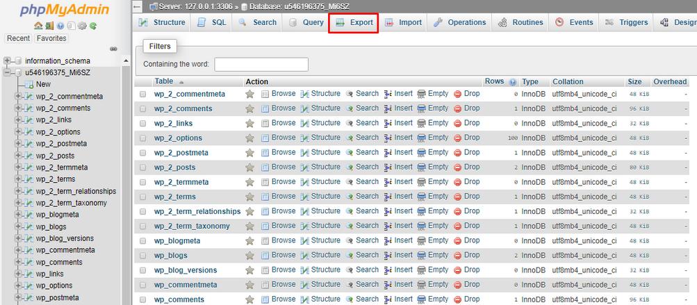 Cara migrasi WordPress saat Export Database menggunakan phpMyAdmin Page
