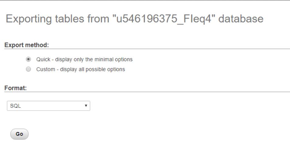 Memilih metode dan format saat ekspor MySQL database