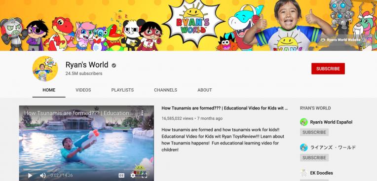 channel youtube ryan's world